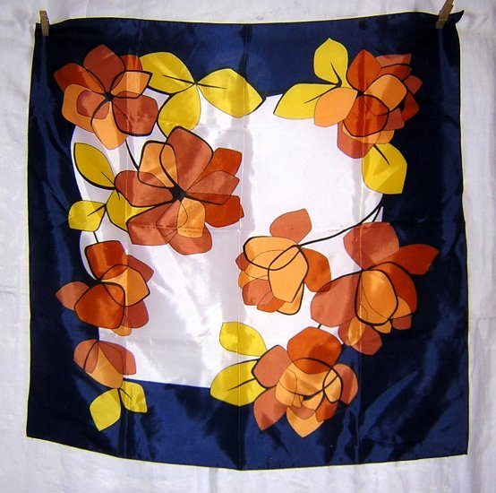 Italian acetate scarf large brown yellow flowers vintage ll1971