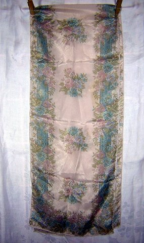 Liz Claiborne long pastel floral scarf roll hem vintage ll1971