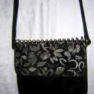 Spiral notebook style black suede shoulder bag purse Studio Renza ll1586