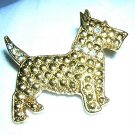 Gold-tone Scottie dog pin brooch marquisite rhinestone vintage ll1977