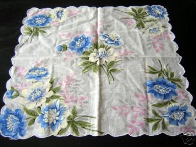 Vintage blue white peonies cotton hanky scalloped hem ll1655