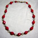 Plastic bead necklace faceted red white vintage jewelry ll2041