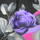 Silk scarf large dramatic hot pink black gray vintage ll1772
