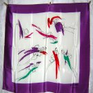 Kishimoto for Rive Libre silk scarf fashion sketches purple border large ll1770