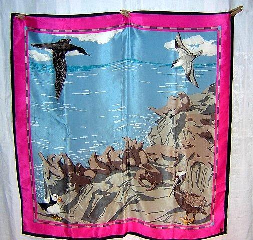 WWF coastal wildlife scene silk scarf made by Vera ll1769