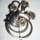Bond Boyd Sterling treble clef pin brooch with roses antique ll1972