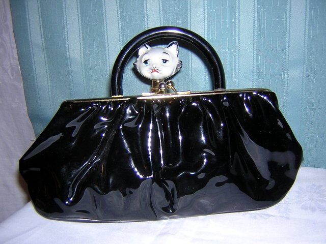 Calego black patent leather clutch purse with plastic handle vintage handbag ll1580