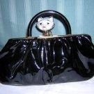 Calego black patent leather clutch purse with plastic handle vintage handbag ll1580