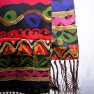 Double thick silk satin coat scarf with long fringe vivid colors ll1768