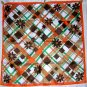 Retro mod acetate scarf daisies with orange green tan ll1860