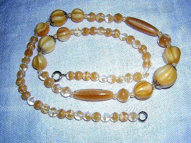 Glass bead necklace serene neutrals perfect vintage jewelry ll3036