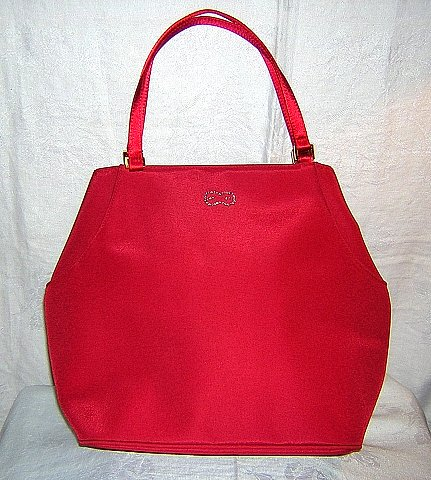 Escada raspberry tote handbag with rhinestones glamorous unused ll1576