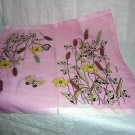 Pink kerchief hanky with butterflies wheat daffodils ll1651