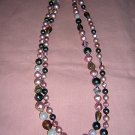 Rope necklace mixed beads soft colors vintage jewelry ll2035