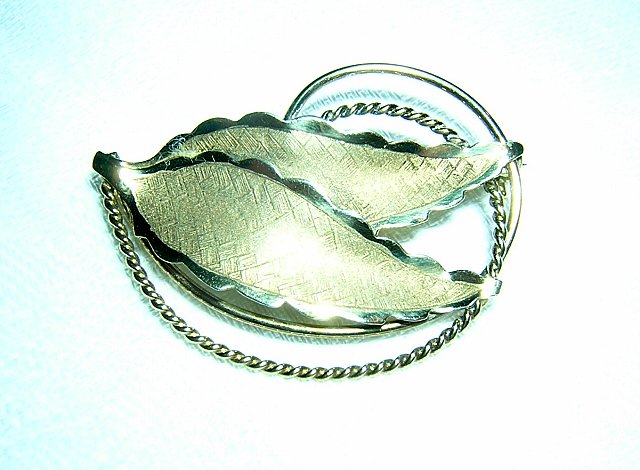 Bond Boyd Sterling double leaf brooch delicate vintage pin ll1966