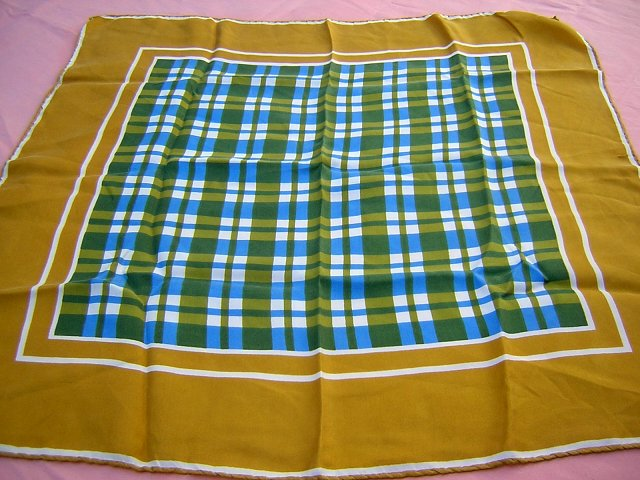 Monique Martin silk scarf blue olive check vintage ll1777