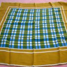 Monique Martin silk scarf blue olive check vintage ll1777