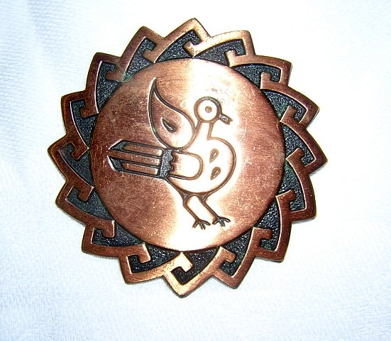Solid copper pin brooch bird motif Southwest vintage ll1964