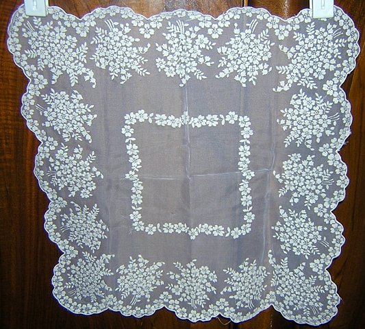 Antique flocked white nylon wedding hanky rare unused ll1648