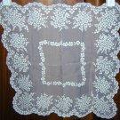 Antique flocked white nylon wedding hanky rare unused ll1648