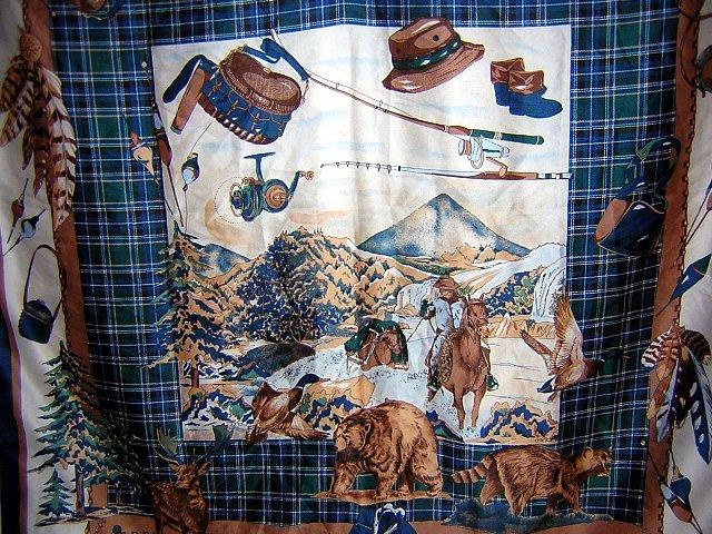 Hunting fishing theme large ladies scarf w tartan plaid ll1854