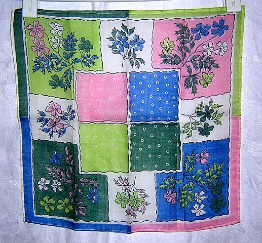 2 cotton hankies color coordinated green pink florals ll1645
