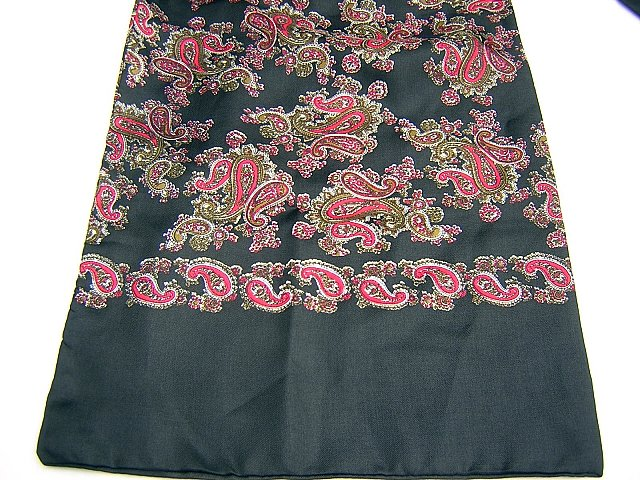 Unisex vintage silk paisley coat scarf double faced unused ll1700
