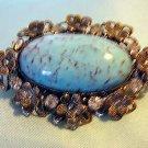 Filigree brooch rhinestones turquoise cabochon vintage ll1961