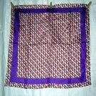 Honeycomb print scarf silk blend Glentex unused purple border ll1757