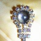 Vintage Aurora Borealis & smoky quartz cabochon brooch ll1958