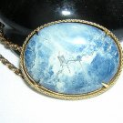 Sodalite cabochon pendant pin framed with chain vintage  ll2029