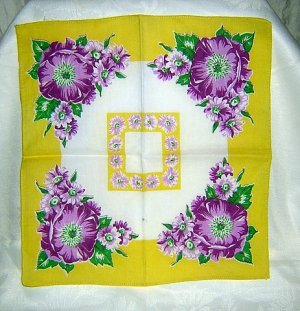 Purple flowers on yellow vintage cotton hanky ll1642