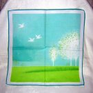 Birds and trees scenic hanky cotton vintage serene ll1637