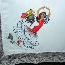 Flamenco and Bullfight painted hanky lace edge vintage ll1635