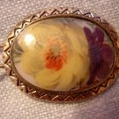 Vintage antique hand painted barette floral oval hair accessories ll2045