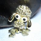 Gerrys bug-eyed poodle brooch pin silver tone bead eyes ll1955