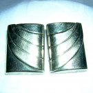 Post modern silvertone clip earrings rectangles vintage jewelry ll2015