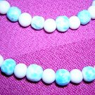 Glass bead rope necklace turquoise white 48 inches vintage jewelry ll2027