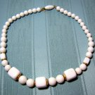 White bead and cubes necklace plastic summer vintage jewelry ll2021