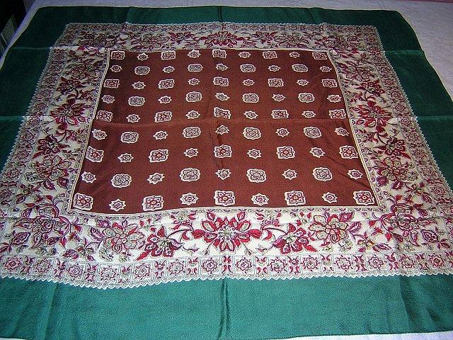 Silk scarf large brown green print high quality vintage ll1736