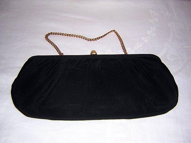 Classic little black evening bag draped rayon 1950s vintage ll1528