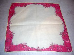 Vintage cotton hanky dainty pink border on white ll1625