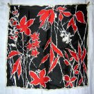 Acetate scarf Italy for Hudson's Bay red leaves Dramatic unused vintage ll1848