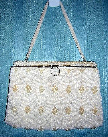 Big band era beaded evening bag Magid France white handbeaded vintage ll1527