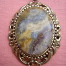 Picture Jasper pendant framed Sarah Coventry chain vintage jewelry ll2015