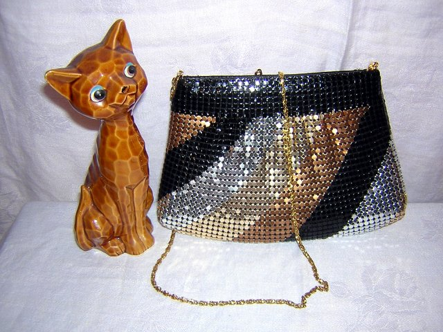 Marlo 4 color metallic mesh evening bag never used vintage ll1525
