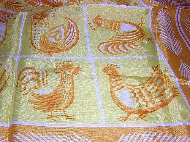 Brilliant vintage acetate scarf hens and feathers unused ll1846