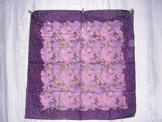 Thai silk scarf orchids in pink, lavender and purple gold large unused ll1730