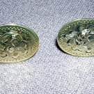 Sterling silver flat etched disc earrings 1950s screwbacks vintage jewelry ll2065