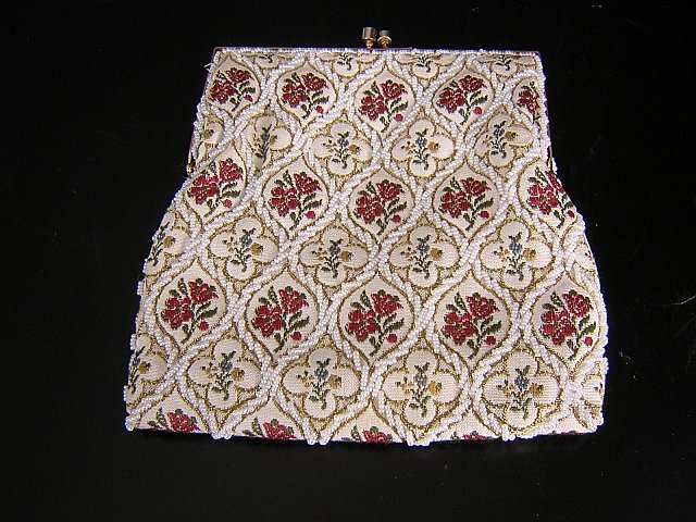 Tapestry and pearl bead evening bag wrist chain vintage ll1520